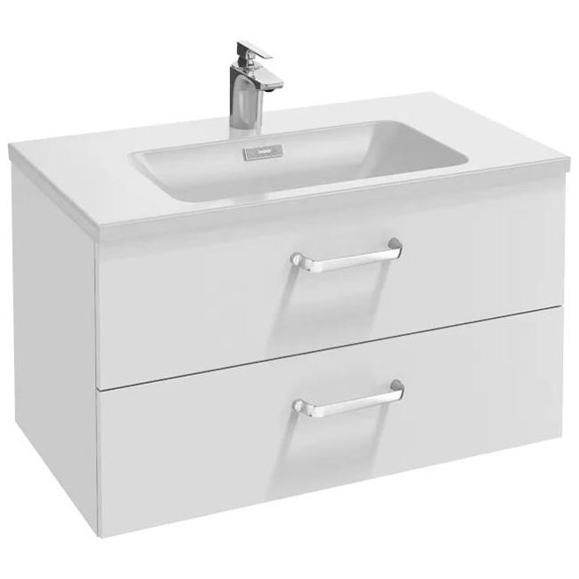 Vox 80 2 ящика изогнутые ручки Белый глянецМебель для ванной<br>Подвесная тумба под раковину Jacob Delafon Vox 80 EB2078-R1-N18 с двумя выдвижными ящиками.<br>Элегантность и изящество переплетается с лаконичностью современного стиля. Тумба придаст интерьеру ванной комнаты дополнительную эстетичность.<br>Изготовлена из МДФ/ДСП с применением меламина - специальной декоративной пленки. Меламин устойчив к механическим повреждениям и истиранию, не боится влаги.<br>Покрытие: глянцевый полиуретановый лак высокого качества.<br>Выдвижные ящики со встроенными доводчиками и механизмом плавного закрывания.<br>Мягкий и плавный ход ящиков с функцией Soft Close. Изогнутые ручки с покрытием цвета матовый хром.<br>Цвет тумбы: белый глянец.<br>Монтаж: подвесная или комбинированная.<br>В комплекте поставки: тумба под раковину.<br>