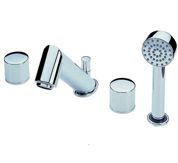 Alessi One 8540 ХромСмесители<br>Смеситель для ванны Oras Alessi One 8540 двухрычажный. Встраеваемый четырехсекционный с отдельными ручками для горячей и холодной воды, стационарный излив с переключателем, душевой шланг с ручным душем, расход воды 22,8 л/мин.<br>