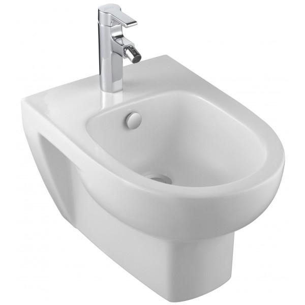 Odeon UpE4765-00 подвесное БелоеБиде<br>Подвесное биде Jacob Delafon Odeon Up E4765-00.<br>Универсальный и лаконичный дизайн биде дополнит большинство ванных комнат в современном стиле.<br>Биде изготовлено из санфарфора и покрыто качественной глазурью. Гладкость и отсутствие пор делает уборку проще: грязь не скапливается на поверхности чаши и легко смывается чистящими средствами.<br>Комфортная высота чаши: 41 см.<br>С переливным отверстием.<br>Одно отверстие под смеситель.<br>Подвесной монтаж, установка вплотную к стене, скрытые крепежи.<br>В комплекте поставки: чаша биде.<br>