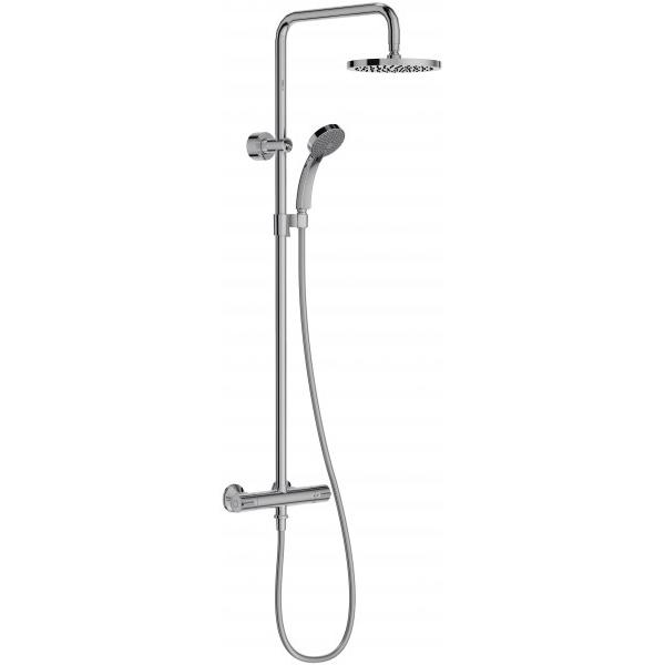 July E45716-CP ХромДушевые системы<br>Душевая система Jacob Delafon July E45716-CP с термостатом, ручным душем и верхним тропическим душем.<br>Изящная и компактная модель для ванных комнат в современном или минималистичном стиле.<br>Изготовлена из качественной латуни с гладким глянцевым покрытием цвета хром. Поверхность защищена от известковых отложений, проста в уходе.<br>Верхний душ диаметром 20 см с возможностью регулировки наклона на 40 градусов вперед или назад.<br>Поворотный кронштейн верхнего душа.<br>Форсунки обеспечивают широкий и мягкий поток воды.<br>Душевая лейка с четырьмя режимами потока воды. Диаметр душевой лейки: 9 см.<br>Гибкий шланг с защитой от перекручиваний длиной 160 см.<br>Термостатический смеситель с предохранительным упором на 37С. Максимальная температура воды: 50С. Точная регулировка снижает колебания температуры.<br>Скрытый переключатель потока воды у основания душевого шланга.<br>Совместимость с водонагревателями (минимальная производительность: 18 кВТ).<br>Расход воды: 10 л/мин.<br>Легкая установка.<br>В комплекте поставки: смеситель, шланг, ручной душ, штанга с держателем ручного душа, верхний душ и комплект креплений.<br>