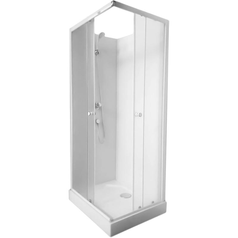 Quattro-90 90x70 без гидромассажаДушевые кабины<br>Стеклянная душевая кабина Aqualux Quattro-90 90x70 AQ-7090GM с открытым верхом, прямоугольная, с двумя раздвижными дверьми, с угловым входом, с ручным душем, для установки в угол ванной комнаты.<br>Витраж: матовое стекло.<br>Задние стенки: белое крашенное стекло.<br>Стекло: закаленное, ударопрочное, безопасное, толщина 4 мм.<br>Цвет профиля: хром.<br>Профиль: алюминий, технология двойной окраски.<br>Поддон: белый акрил, антискользящий рельеф, H 12 см.<br>Ручной душ с настенным держателем, со смесителем.<br>Монтаж: угловой, пристенный.<br>В комплекте поставки:<br>передние стекла; <br>задние стенки; <br>поддон; <br>смеситель;<br>лейка с держателем;<br>душевой шланг.<br>