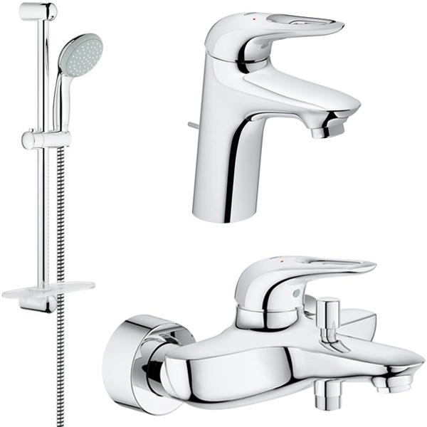 Комплект смесителей grohe eurostyle 124416 metalkris мебель ванная
