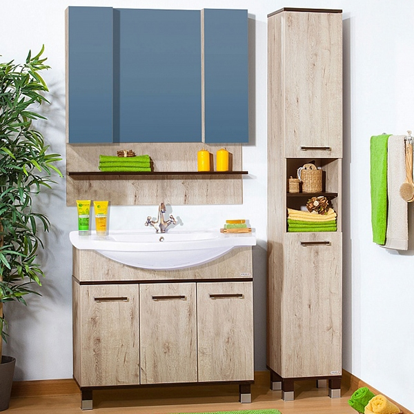 Карибы 100 Дуб Кантри ВенгеМебель для ванной<br>Тумба под раковину Бриклаер Карибы 100 на ножках, с тремя распашными дверцами. Для использования в ванных комнатах с повышенной влажностью.<br><br>Гармония, натуральность, уют и функциональность.<br>Материал: ЛДСП контрастных цветов светлый дуб и венге.<br>Качественная фурнитура.<br>Повышеная влагостойкость.<br>Необходимо бережное обращение, защита от заливов и протечек воды.<br>Монтаж: комбинированный.<br>Крепление к стене: два навеса.<br>Дополнительные напольные опоры: ножки с регулировкой.<br><br><br>Отделения:<br>левое: две распашные дверцы, одна полка.<br>правое: одна распашная дверца, одна полка.<br><br><br>В комплекте поставки:<br>тумба.<br><br>