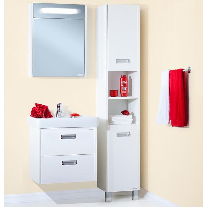 Палермо 60 подвесная БелаяМебель для ванной<br> Тумба под раковину Бриклаер Палермо 60 УТ-00006190. <br> Габариты тумбы: 60 x 60 x 49,5 см. <br> Дизайн: олицетворение простоты и свежести.  <br>Технические характеристики: <br> прямоугольная, подвесная,<br>материал корпуса и фасада: ЛДСП лак, высокий глянец<br>покрытие: лак/глянец,<br> 2 выдвижных ящика, <br> отверстия в задней планке для крепления к стене, <br> фурнитура: 2 металлические ручки, направляющие с доводчиками,<br>цвет: белый глянец.<br>