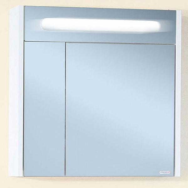 Зеркальный шкаф Бриклаер Палермо 74 с подсветкой корпус Белый глянец зеркальный шкаф бриклаер бали 40 светлая лиственница