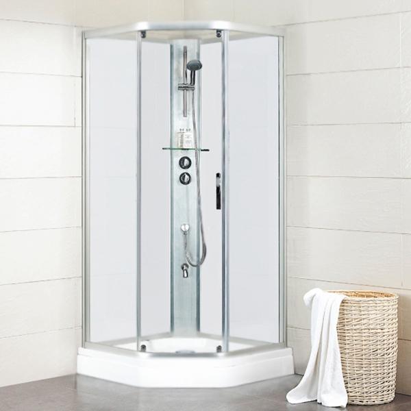 Waterfall 90x90 BC090.6100A Хром стекло прозрачное без крышиДушевые кабины<br>Стеклянная душевая кабина Bravat Waterfall 90x90 BC090.6100A пятиугольная (в форме полупризмы), с одной раздвижной дверью.<br>Монтаж: угловой.<br>Безсиликоновая сборка.<br>Витраж: прозрачное закаленное безопасное стекло 0,6 см.<br>Задние стенки: закаленное безопасное стекло белого цвета, толщина 5 мм.<br>Антигрязевое покрытие стекла: Easy Clean.<br>Профиль: полированный алюминий, толщина 1,5 мм.<br>Поддон: белый акрил, H 17 см с противоскользящим покрытием.<br>Cмеситель: двужрежимный.<br>Ручной душ: регулировка по высоте.<br>Удобная полочка.<br><br>В комплекте поставки:<br>передняя стенка с дверью.<br>задние стенки;<br>поддон;<br>душевая лейка с держателем и шлангом;<br>смеситель;<br>полочка.<br><br>
