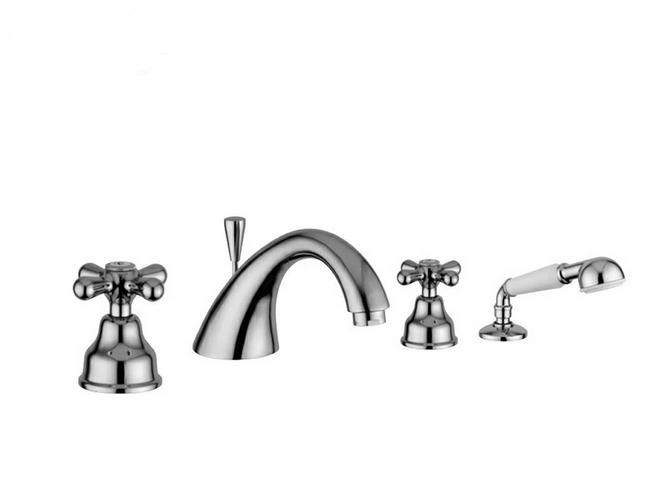 Deco Classic 12120 БронзаСмесители<br>Смеситель Emmevi Deco Classic 12120 для ванны. Двухвентильный, для установки на край ванны, на четыре отверстия, с ручным душем и дивертером. Цвет бронза.<br>