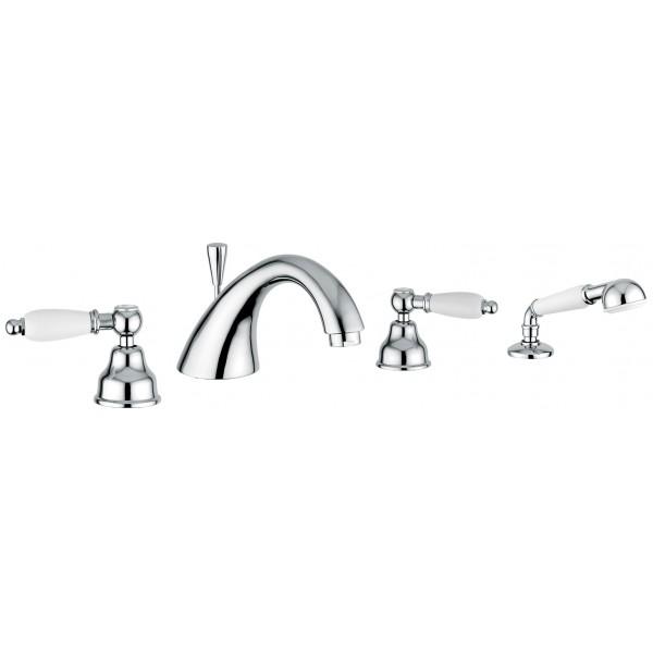 Deco Ceramic 121120 БронзаСмесители<br>Смеситель Emmevi Deco Ceramic 121120 для ванны. Двухвентильный, для установки на край ванны, на четыре отверстия, с ручным душем и дивертером. Цвет бронза.<br>