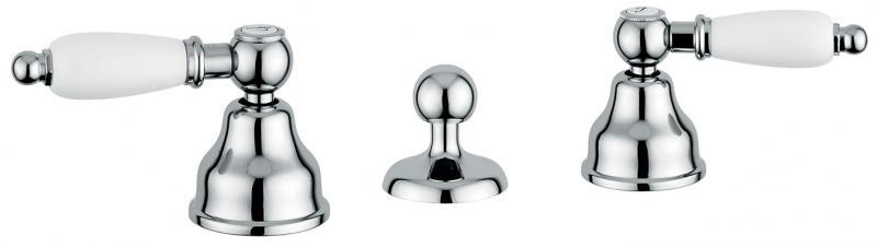 Deco Ceramic 121034 ХромСмесители<br>Смеситель Emmevi Deco Ceramic 121034 для биде. Двухвентильный, с донным клапаном, на три отверстия. Цвет хром.<br>