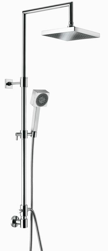 c02603 I ХромДушевые системы<br>Душевая система Emmevi c02603 I. Душевая колонна с вращающейся верхней частью, дивертером и держателем для ручного душа. Цвет хром. Подключение воды из стены. В комплект входят: головка для верхнего душа диаметром 200х200 мм, гибкий шланг двойного плетения 1500 мм, ручной душ.<br>
