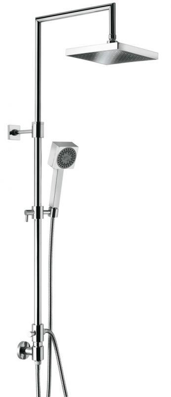 c02603E ХромДушевые системы<br>Душевая система Emmevi c02603E. В комплект входит: верхний душ настенный размером 200x200 мм, ручной душ, шланг. Цвет хром.<br>