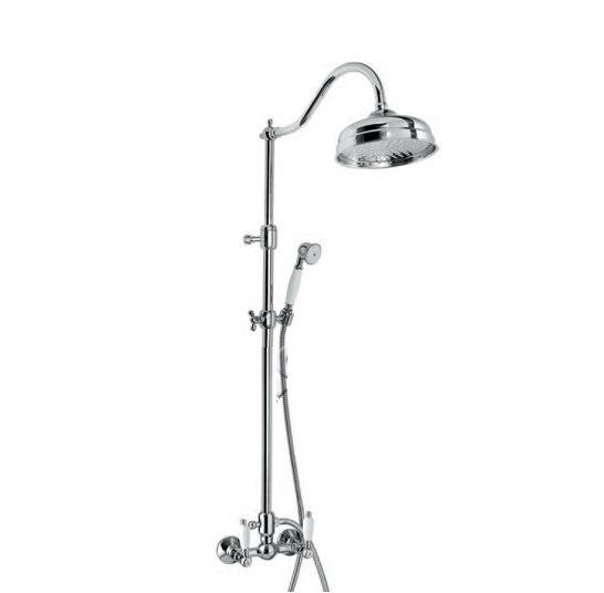 12100281   ХромДушевые системы<br>Душевая система Emmevi 12100281. В комплект входит: верхний душ диаметром 210 мм настенный, ручной душ, шланг, смеситель. Цвет хром.<br>