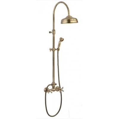 1200281 БронзаДушевые системы<br>Душевая система Emmevi 1200281. В комплект входит: верхний душ диаметром 210 мм настенный, ручной душ, шланг, смеситель. Цвет бронза.<br>