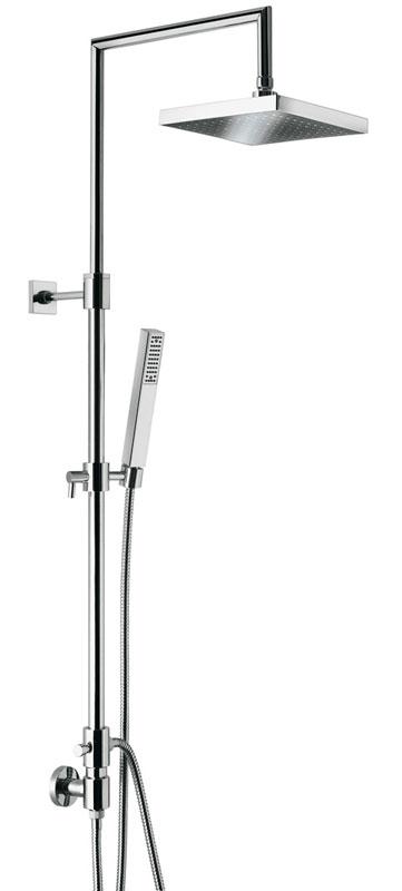 c02595E ХромДушевые системы<br>Душевая система Emmevi c02595E. Душевая колонка с вращающейся верхней частью, дивертером и держателем для ручного душа. Подключение воды из настенного смесителя. Цвет хром. В комплект входят: головка для верхнего душа размером 200х200 мм, гибкий шланг двойного плетения 1500 мм, ручной душ, гибкий шланг 600 мм. Смеситель не входит в комплект.<br>