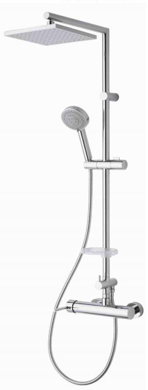 Fresh 7Q ХромДушевые системы<br>Душевая система Nikles Fresh 7Q. Цвет хром. Размер 345x1100 мм. В комплектацию входят: Верхний душ - диаметр 200 мм, материал ABS, технология Nikles easy to clean; Ручной душ с трёх позиционной массажной лейкой регулируемой по высоте, хромированный гибкий шланг 1500 мм; Душевая штанга из хромированной латуни в комплекте с мыльницей; Механический смеситель.<br>