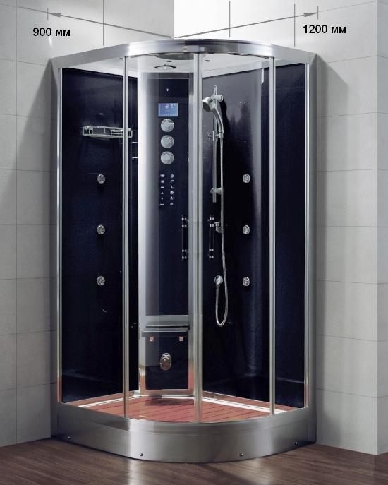WS103L/S6/BB  120x90 LДушевые кабины<br>Пародушевая кабина Grande Home WS103L/S6/BB гидромассажная с черными задними стенками из стекла толщиной 8 мм. Левое исполнение. Комплектация: термостатический смеситель, верхний душ, система хромотерапии, FM-радио, возможность подключения к MP3, турецкая баня, съемный панели для быстрого технического доступа, функция самоочистки парогенератора, ручная душевая лейка со штангой, переключатель потоков, гидромассажные форсунки, паровая форсунка с фитоконтейнером, отделка крыши из акрила, складное сиденье и решетка поддона из тонированного дуба.<br>