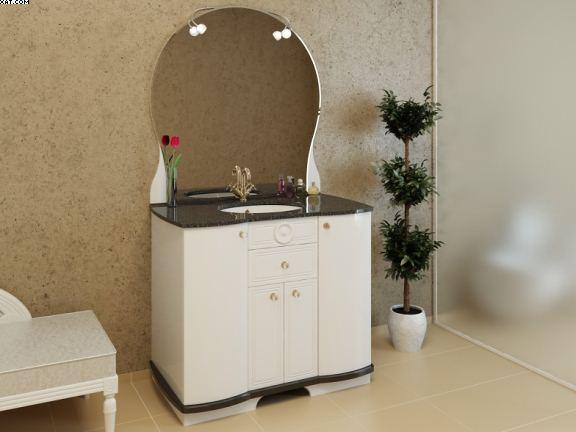 Ареццо Ар-105 Цвет РАЛМебель для ванной<br>Мебель для ванной Ареццо 105. В комплект мебели входят: пять ручек, коврик против скольжения, зеркало Ареццо 100 цвета белый металлик (№230м), умывальник Астра из искусственного камня в цвете хром с переливом, столешница из искусственного камня в черном цвете.<br>