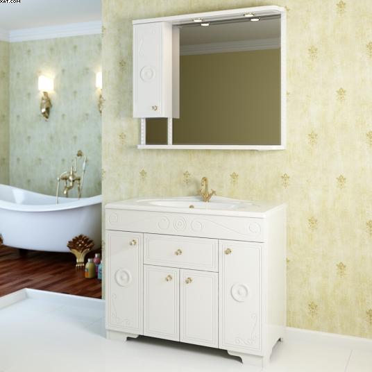 Гармония 100 Покрытие металликМебель для ванной<br>Тумба под раковину Фэма Стиль Гармония 100. Два коврика против скольжения и пять ручек в комплекте.<br>