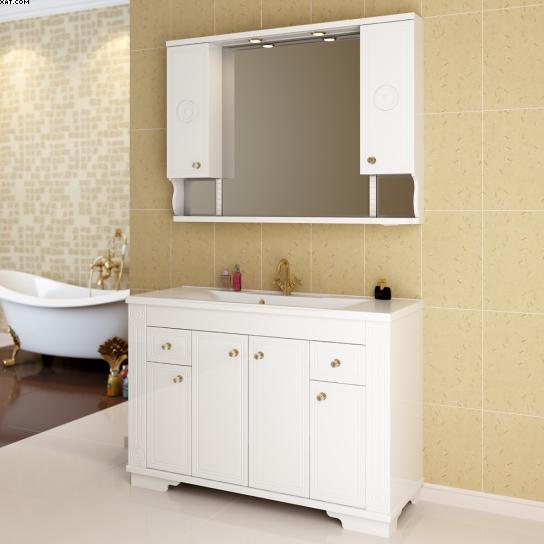 Классико 120 Покрытие глянецМебель для ванной<br>Тумба под раковину Фэма Стиль Классико 120. Пять ручек и два коврика против скольжения в комплекте.<br>