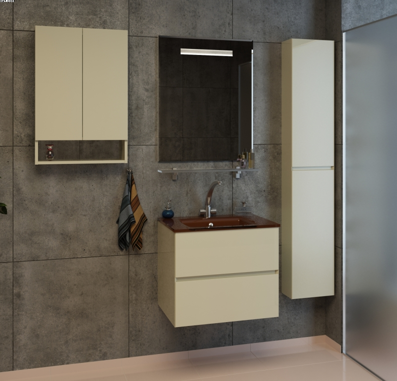 Ливорно-60 Цвет МеталликМебель для ванной<br>Тумба под раковину подвесная Фэма Стиль Ливорно 60, в комплект входят: коврик против скольжения - 2шт., крепеж к стене, так же Вы можете приобрести - раковину, зеркало, пенал.<br>
