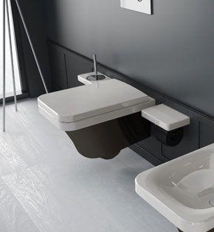 Flat FLW 10 Бело-черныйУнитазы<br>Hidra Ceramica Flat FLW 10. Подвесной унитаз бело-черного цвета. Комплект креплений включен в стоимость, сиденье приобретается отдельно.<br>