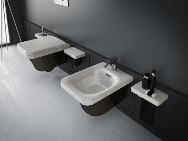 Flat FLW 14 Бело-черноеБиде<br>Hidra Ceramica Flat FLW 14. Подвесное биде с одним отверстием под смеситель, цвет: бело-черный. Комплект креплений включен в стоимость, сифон приобретается отдельно.<br>