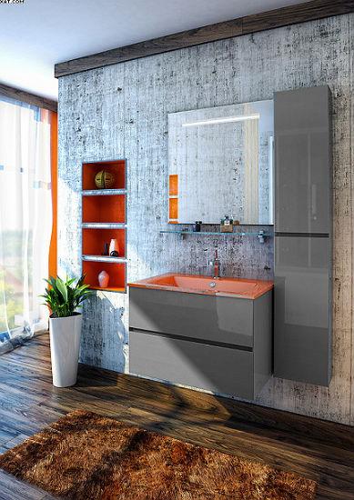 Римини 75 Цвет МеталликМебель для ванной<br>Тумба под раковину подвесная Фэма Стиль Римини 75. В комплект входят два коврика против скольжения и крепеж к стене.<br>