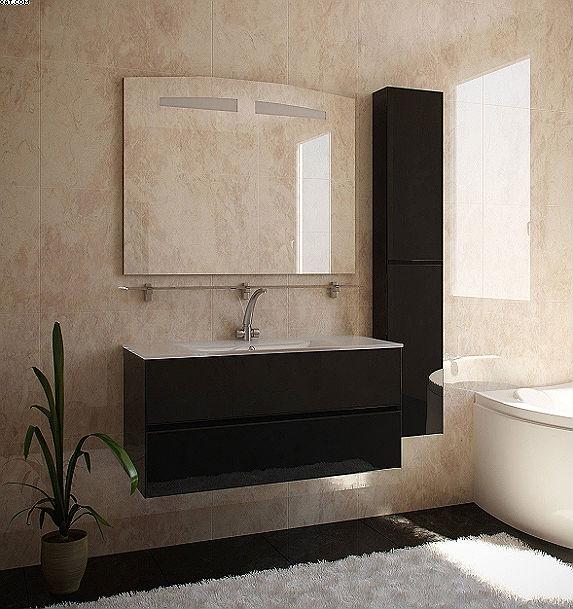 Римини 105 Цвет МеталликМебель для ванной<br>Тумба Римини 105. В комплекте 2 коврика против скольжения, крепеж к стене.<br>