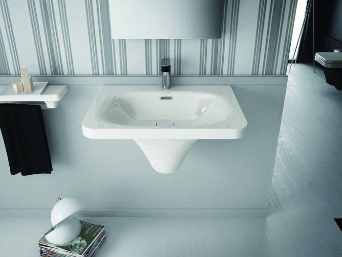 Flat FL 15 Бело-чернаяРаковины<br>Hidra Ceramica Flat FL 15. Раковина бело-черного цвета, устанавливается на пьедистал. Пьедистал приобретается отдельно.<br>
