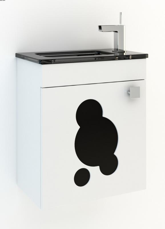 Пикколо 45 Цвет МеталликМебель для ванной<br>Тумба под раковину Фэма Стиль Пикколо 45. Стеклянная вставка и крепеж к стене в комплекте.<br>