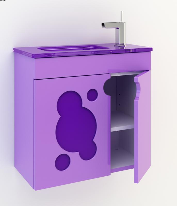 Пикколо 55 Цвет МеталликМебель для ванной<br>Тумба под раковину Фэма Стиль Пикколо 55. Стеклянная вставка и крепеж к стене в комплекте.<br>