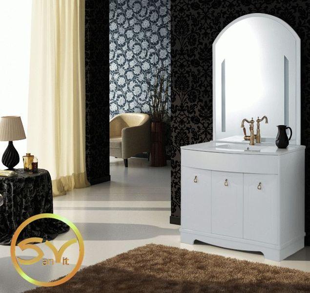 Сильвия 100 напольная БелаяМебель для ванной<br>В стоимость входит тумба с раковиной Sanvit Сильвия 100. Тумба напольная, три распашных дверцы с доводчиками, раковина керамика. Зеркало приобретается отдельно.<br>