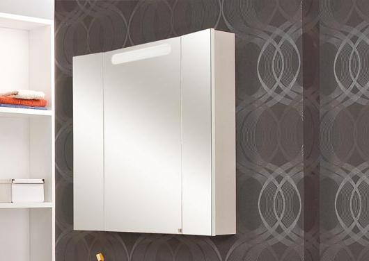 Мадрид 80 М Белый глянецМебель для ванной<br>Зеркальный шкаф Акватон 1A175202MA010 Мадрид 80 М подвесной. Зеркальный фасад, встроенная подсветка, корпус из влагостойкого ДСП.<br>