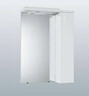 Панда 50 RМебель для ванной<br>Зеркальный шкаф Акватон 1A007402PD01R Панда 50 подвесной. Правое исполнение, пенал справа. Корпус из влагостойкого ДСП, зеркальный фасад, встроенная подсветка.<br>