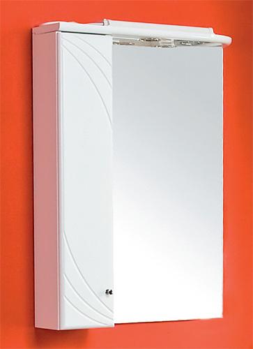Пинта М LМебель для ванной<br>Зеркальный шкаф Акватон 1A013202PT01L Пинта М подвесной. Левое исполнение, пенал слева. Корпус из влагостойкого ДСП, зеркальный фасад, встроенная подсветка.<br>