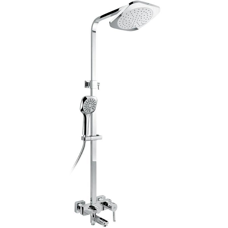 Hette SX-1021 ХромДушевые системы<br>Душевая система Timo Hette SX-1021 с квадратным верхним душем, однорычажным смесителем с изливом. Решение для ванной в стиле модерн. Хорошо будет смотреться и в интерьере в современной стилистике.<br><br><br><br>Душевая система сделана из латуни класса А.<br>Покрытие: глянцевый хром.<br><br><br><br><br>Смеситель:<br><br>Управление: однорычажное.<br>Излив: поворотный длиной 10,6 см.<br>Картридж: с шумопоглощающей фильтрующей сеткой.<br>Диаметр керамического картриджа: 35 мм.<br><br><br><br><br>Душевая система:<br><br>Материал лейки: высококачественный пластик.<br>Цвет верхней/нижней лейки: хром/белый.<br>Круглый верхний душ диаметром: 20х20 см.<br>Длина кронштейна верхнего душа: 34 см.<br>Однорежимный ручной душ.<br>Угол наклона верхней лейки регулируется до 35° во все стороны.<br>3 режима: переключение излив/верхний душ/лейка.<br>Регулируемая штанга высотой: 78-130 см.<br><br><br>