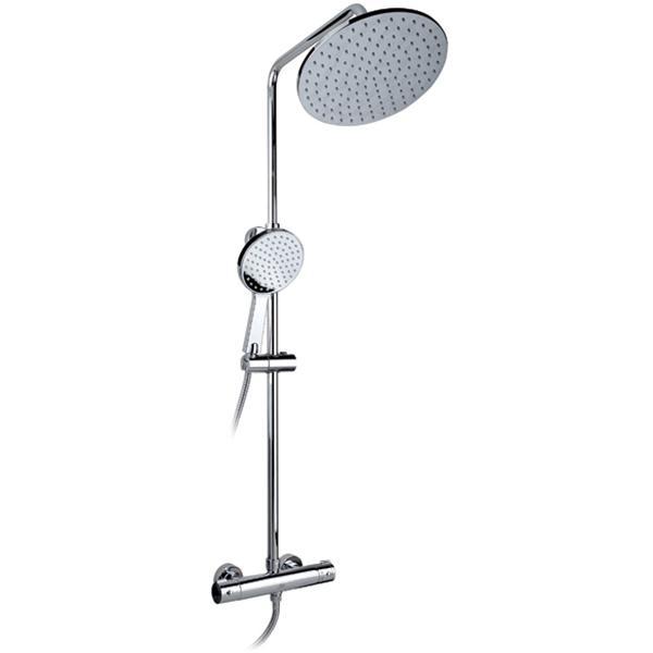 Termo SX-1050 ХромДушевые системы<br>Душевая система Timo Termo SX-1050 с круглым верхним душем, с двухвентильным смесителем и термостатом. Решение для ванной в современном стиле.<br><br><br><br>Душевая система сделана из латуни класса А.<br>Покрытие: глянцевый хром.<br><br><br><br><br>Смеситель:<br><br>Управление: двухвентильное.<br>Керамические кран-буксы с углом поворота: 180°<br><br><br><br><br>Душевая система:<br><br>Материал лейки: высококачественный пластик.<br>Цвет верхней/нижней лейки: хром.<br>Круглый верхний душ диаметром: 26 см.<br>Длина кронштейна верхнего душа: 33,2 см.<br>Однорежимный ручной душ.<br>Угол наклона верхней лейки регулируется до 35° во все стороны.<br>2 режима: переключение верхний душ/лейка.<br>Регулируемая штанга высотой: 80-130 см.<br><br><br>