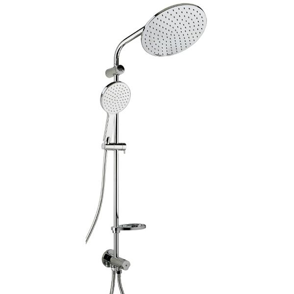 Saga SK-1018 ХромДушевые системы<br>Душевая система Timo Saga SK-1018 с круглым верхним душем и мыльницей. Решение для ванной комнаты в современном стиле.<br><br><br><br>Душевая система сделана из латуни класса А.<br>Покрытие: глянцевый хром.<br><br><br><br><br>Смеситель:<br><br>Управление: однорычажное.<br>Диаметр керамического картриджа: 35 мм.<br><br><br><br><br>Душевая система:<br><br>Материал лейки: высококачественный пластик.<br>Круглый тропический верхний душ диаметром: 26 см.<br>Однорежимный ручной душ.<br>Угол наклона верхней лейки регулируется до 35° во все стороны.<br>2 режима: переключение верхний душ/лейка.<br>Высота штанги: 101,8 см.<br><br><br>