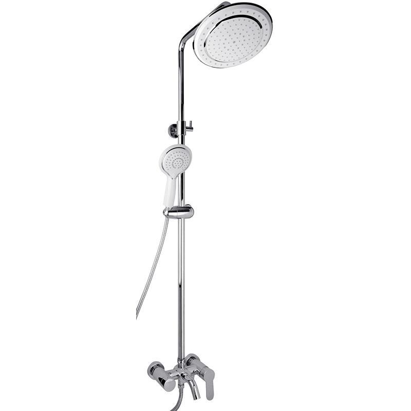 Polo SX-1100 White БелаяДушевые системы<br>Душевая система Timo Polo SX-1100 White с круглым верхним душем, однорычажным смесителем с изливом. Решение для ванной комнаты в современном стиле.<br><br><br><br>Душевая система сделана из латуни класса А.<br>Покрытие: глянцевый хром.<br><br><br><br><br>Смеситель:<br><br>Управление: однорычажное.<br>Фиксированный излив длиной: 17,9 см.<br>Картридж с шумопоглощающей фильтрующей сеткой.<br>Диаметр керамического картриджа: 35 мм.<br><br><br><br><br>Душевая система:<br><br>Материал лейки: высококачественный пластик.<br>Цвет верхней/нижней лейки: белый.<br>Круглый тропический верхний душ диаметром: 23 см.<br>Однорежимный ручной душ.<br>Угол наклона верхней лейки регулируется до 35° во все стороны.<br>3 режима: переключение излив/верхний душ/лейка.<br>Регулируемая телескопическая штанга высотой: 97,05-126,3 см.<br><br><br>