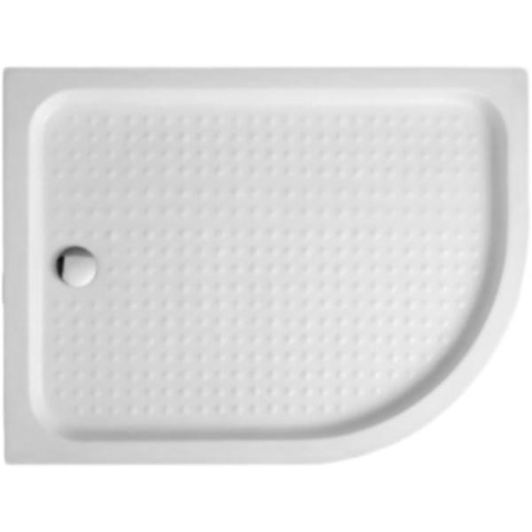 Tray A RH 120x80x15 R БелыйДушевые поддоны<br>Цельнолитой акриловый душевой поддон Cezares Tray A RH 120x80x15 TRAY-A-RH-120/80-550-15-W-R радиальный, асимметричный, низкий.<br>Материал: высококачественный акрил. <br>Эффективное звукопоглощение.<br>Гладкая и теплая на ощупь поверхность.<br>Антискользящее массажное покрытие дна.<br>Неприхотливость в уходе. <br>Радиус: 55 см.<br>Диаметр сливного отверстия: 9 см.<br>Пропускная способность сифона: 30 л/мин.<br>Монтаж: на пол/на подиум, в правый угол.<br>Металлический каркас с регулируемыми ножками.<br>В комплекте поставки:<br>душевой поддон;<br>каркас с ножками;<br>сифон.<br>