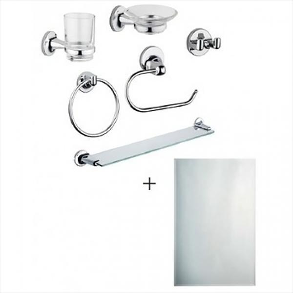 Marin A44949EXP 7 предметовАксессуары для ванной<br>Набор аксессуаров для ванной комнаты Vitra Marin A44949EXP (7 предметов).<br>Универсальный и лаконичный дизайн изделий дополнит интерьер любой ванной комнаты.<br>В комплекте: <br>полочка, <br>настенное зеркало,<br>кольцо для полотенец, <br>держатель зубных щеток, <br>мыльница, <br>держатель туалетной бумаги, <br>крючок для халата.<br>