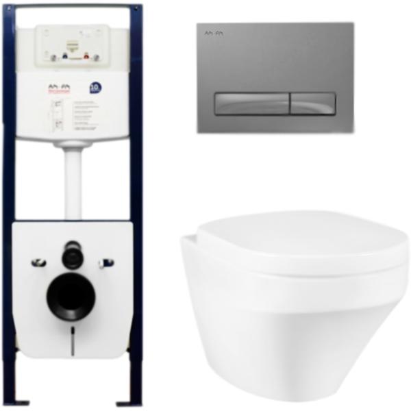 Комплект унитаза AM PM Inspire C501738WH с инсталляцией I012702 и клавишей I014151 с крышкой Микролифт и Белой клавишей смыва