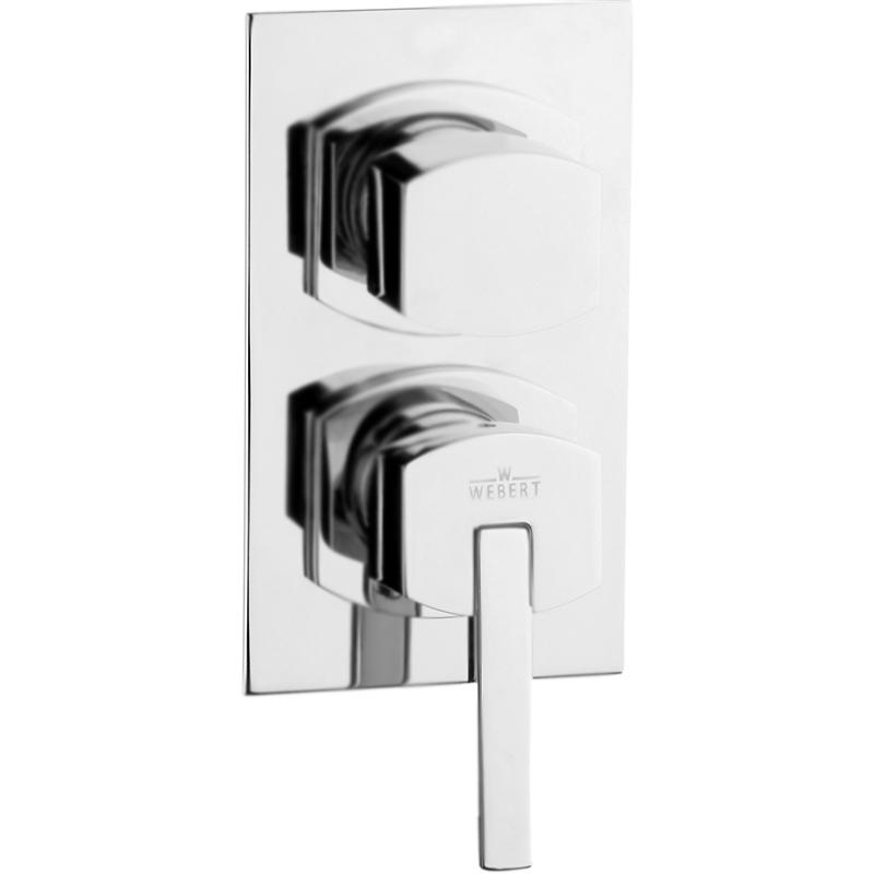 Azeta New AA860101 Хром глянцевыйСмесители<br>Встраиваемый настенный смеситель для ванны и душа Webert Azeta New AA860101015 на два потока воды, однорычажный.              <br>Покрытие: глянцевый хром.<br>Материал: качественная латунь с минимальным процентом свинца, &amp;lt;0.2%.<br>Состав материала соответствует международным нормам.<br>Механизм: керамический картридж, D 35 мм.<br>Картридж оснащен механизмом контроля потока воды и температуры.<br>Механическая настройка эксплуатационных параметров.<br>Переключатель потоков: двухпозиционный.<br>Регулируемая монтажная глубина: 4,5-7 см.<br>Стандарт подключения: G 1/2.<br>В комплекте поставки:<br>внешняя часть смесителя; <br>внутренняя часть смесителя; <br>комплект креплений.<br>
