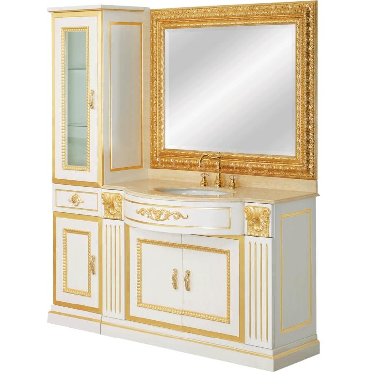 Ravenna 163 Avorio/TravertinoМебель для ванной<br>Комплект мебели для ванны Migliore Ravenna 163.<br>В комплекте поставки: <br>Тумба под раковину,<br>Витрина (шкаф-пенал) с распашной дверцей,<br>Зеркало, <br>Мраморная столешница, <br>Раковина.<br>Габариты: 163x195x59 см.<br>Материал: массив дерева.<br>Материал столешницы: мрамор.<br>Материал раковины: санфаянс.<br>Цвет мебели: Avorio (слоновая кость), цвет столешницы: Travertino (травертин).<br>Декор с покрытием Foglia Oro (сусальное золото). <br>Монтаж: напольный.<br>