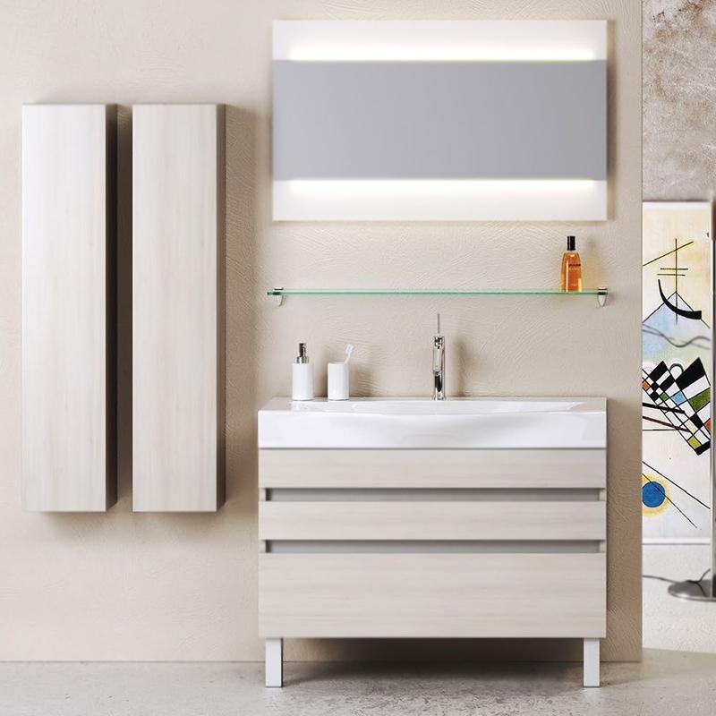 Бергамо 100 АкацияМебель для ванной<br>Тумба под раковину Aqwella Бергамо 100 Ber.01.10/n/A цвета акция, с фактурной поверхностью, с тремя выдвижными ящиками, с двумя ножками, для использования в ванных комнатах с повышенной влажностью. <br>Материал: высококачественный испанский МДФ (FINSA).<br>Покрытие: высококачественная структурированная пленка.<br>Отделка внутренних элементов: Eolo цвет под ткань.<br>Экологически чистые материалы.<br>Фурнитура Blum: надежность идолговечность.<br>Монтаж: комбинированный. <br>Крепление к стене: два навеса. <br>Дополнительные напольные опоры: две ножки. <br>Отделения:<br>верхнее: выдвижной ящик, система разделения внутреннего пространства;<br>центральное: выдвижной ящик, один отсек.<br>нижнее: выдвижной ящик, один отсек.<br>Система полного выдвижения и мягкого закрывания (Blum).<br>В комплекте поставки:<br>тумба.<br>
