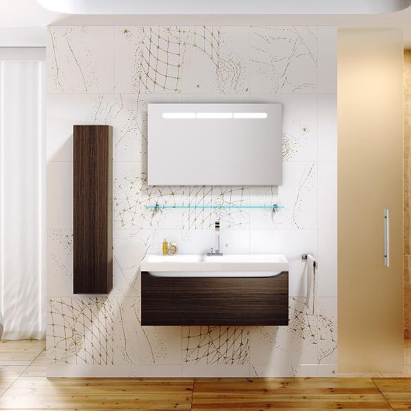 Верона 100 подвесная БелаяМебель для ванной<br>Подвесная тумба под раковину Aqwella Верона 100 Ver.01.10/W белая, с глянцевой поверхностью, с выдвижным ящиком и с удобной полочкой за фасадом, с ручкой-выемкой, для использования в ванных комнатах с повышенной влажностью. <br>Материал: высококачественный испанский МДФ (FINSA).<br>Покрытие: высокоглянцевая эмаль.<br>Отделка внутренних элементов: Eolo цвет под ткань.<br>Экологически чистые материалы.<br>Фурнитура Blum: надежность идолговечность.<br>Монтаж: подвесной, крепление к стене.<br>Усиленные навесы с ответными планками (CАMAR, Италия).<br>Максимальная нагрузка на навесы: до 200 кг.<br>Отделение:<br>один выдвижной ящик, одна полка, ручка-выемка.<br>Система мягкого закрывания (Blum).<br>В комплекте поставки:<br>тумба.<br>