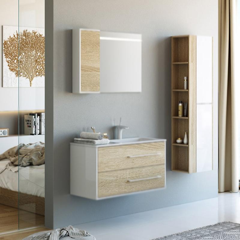 Маями 90 подвесная R Дуб сонома/белыйМебель для ванной<br>Подвесная тумба под раковину Aqwella Маями 90 Mai.01.09/R павосторонняя, с двумя выдвижными ящиками, для использования в ванных комнатах с повышенной влажностью. <br>Комбинированный цвет: дуб сонома (фактура) и белый (глянец).<br>Материал фасада и корпуса: высококачественный ДСП.<br>Экологически чистые материалы.<br>Ручки: вытянутые, белые.<br>Фурнитура Blum: надежность идолговечность.<br>Монтаж: подвесной, крепление к стене.<br>Отделения:<br>верхнее: выдвижной ящик, выемка для чаши раковины справа;<br>нижнее: выдвижной ящик, один отсек.<br>Система мягкого закрывания (Blum).<br>В комплекте поставки:<br>тумба.<br>