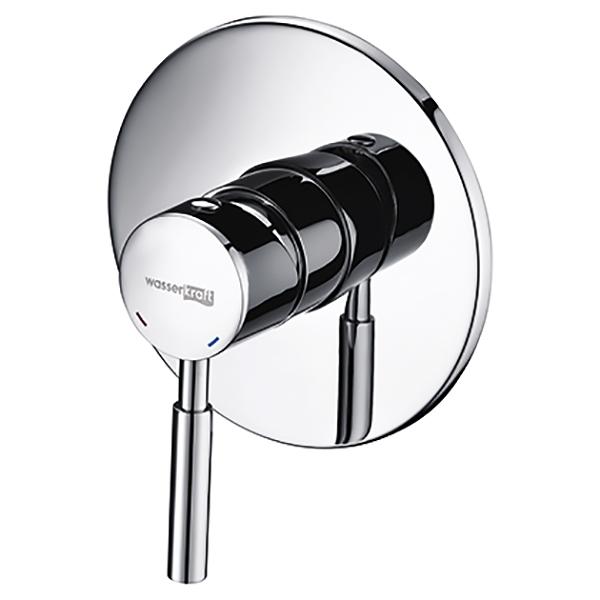 Main 4151 ХромСмесители<br>Смеситель для душа Wasser Kraft Main 4151.<br>Материал: латунь, хромоникелевое покрытие.<br>Керамический картридж 35 мм (Sedal, Испания), рассчитанный на 500 000 открытий и закрытий.<br>Рабочее давление: 1-5 Bar, максимальное давление: 9 Bar.<br>Рабочая температура: opt. 65°, max 90°.<br>В комплекте поставки: <br>Наружная часть смесителя,<br>Комплект скрытого монтажа.<br>