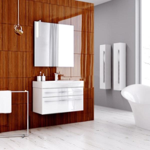 Милан 100 2 ящика подвесная БелаяМебель для ванной<br>Подвесная тумба под раковину Aqwella Милан 100 Mil.01.10/2/W белая, с глянцевой поверхностью, с двумя выдвижными ящиками, для использования в ванных комнатах с повышенной влажностью. <br>Материал: высококачественный испанский МДФ (FINSA). <br>Покрытие: высокоглянцевая эмаль. <br>Отделка внутренних элементов: Eolo цвет под ткань.<br>Экологически чистые материалы.<br>Ручки: вытянутые, хромированные.<br>Фурнитура Blum: надежность идолговечность.<br>Монтаж: подвесной, крепление к стене.<br>Отделения:<br>верхнее: выдвижной ящик, подвижные пластиковые разделители;<br>нижнее: выдвижной ящик, один отсек.<br>Стеклянные боковые стенки ящиков.<br>Система полного выдвижения и мягкого закрывания (Blum).<br>В комплекте поставки:<br>тумба.<br>