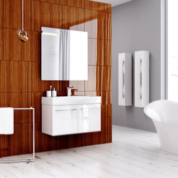 Милан 80 подвесная БелаяМебель для ванной<br>Подвесная тумба под раковину Aqwella Милан 80 Mil.01.08/W белая, с глянцевой поверхностью, с двумя распашными дверцами, для использования в ванных комнатах с повышенной влажностью. <br>Материал: высококачественный испанский МДФ (FINSA). <br>Покрытие: высокоглянцевая эмаль. <br>Отделка внутренних элементов: Eolo цвет под ткань.<br>Экологически чистые материалы.<br>Ручки: вытянутые, хромированные.<br>Фурнитура Blum: надежность идолговечность.<br>Монтаж: подвесной, крепление к стене.<br>Отделение:<br>две распашные дверцы, одна стеклянная полка.<br>Петли со встроенными доводчиками (Blum).<br>В комплекте поставки:<br>тумба.<br>